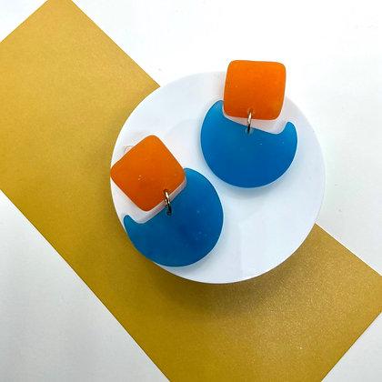 Blue and Orange Handmade Resin Earrings
