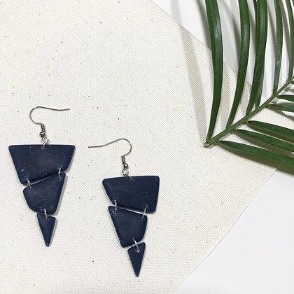 Handmade Navy Blue Resin Statement Earrings