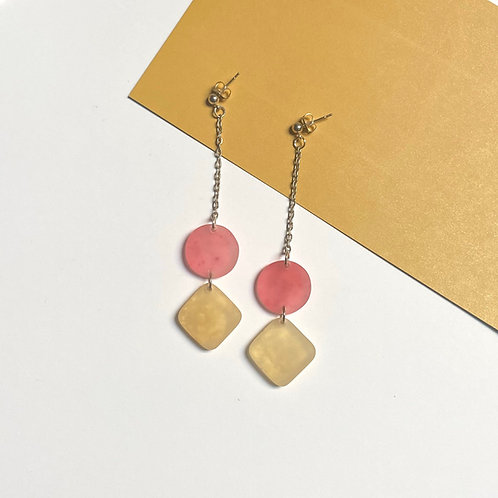 Pink and Gold Long Dangle Resin Earrings