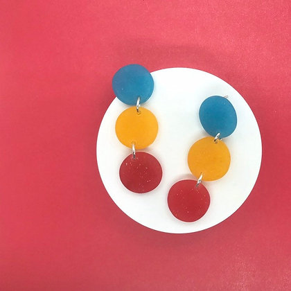 Blue Yellow and Red Resin Circle Earrings