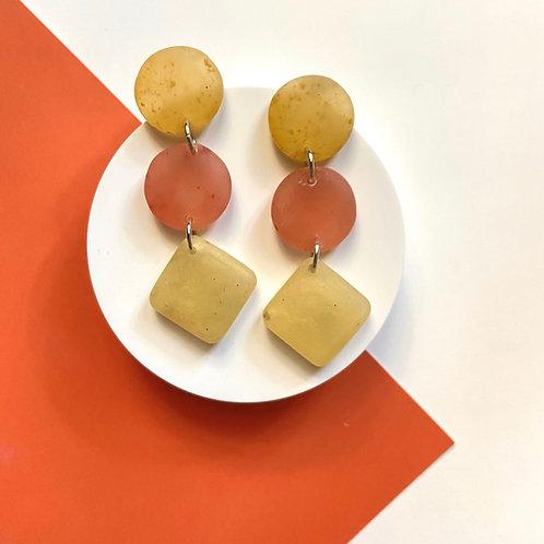 Gold and Orange Handmade Dangle Resin Earrings