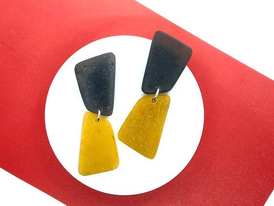 Black and Yellow Geometric Dangle Earrings