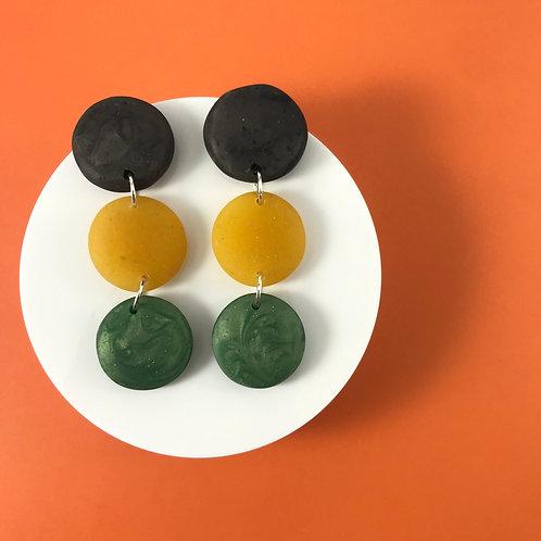 Multicolor Resin Circular Handmade Black, Yellow and Green Earrings