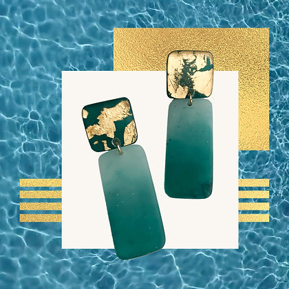 Gold Flakes in Teal Green Resin Studs