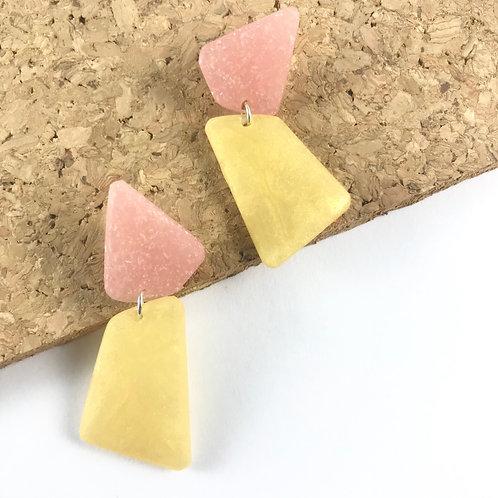 Pink and Gold Geometric Handmade Earrings