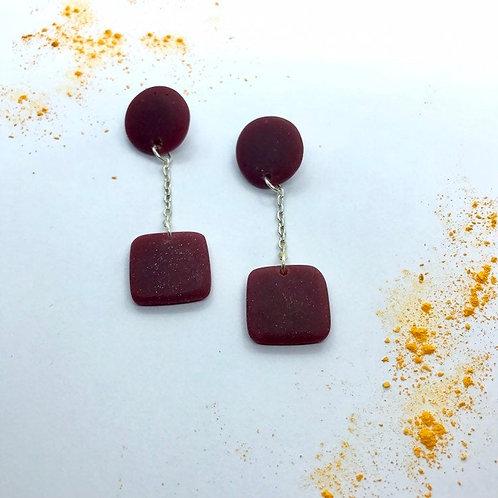 Fall Handmade Earrings, Maroon Dangle Earrings