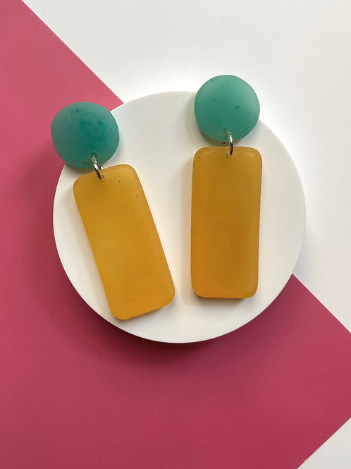 Green and Yellow Handmade Dangle Resin Earrings