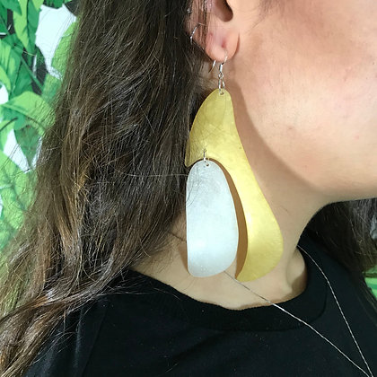 Handmade White and Golden Big Bold Statement Earrings