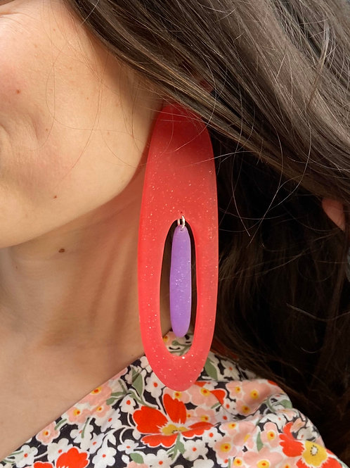 Chunky Pink and Purple Large Earrings