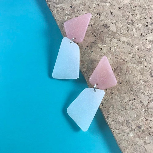 Trendy Handmade Pink and White Earrings