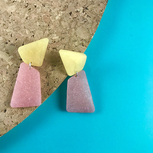 Pink and Metallic Gold Stud Earrings