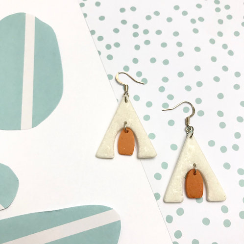 Handmade White Statement Earrings with Orange Dot