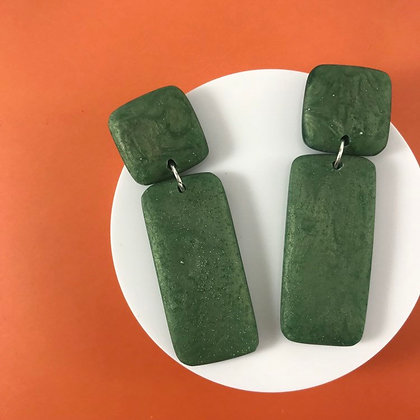 Minimalist Handmade All Green Resin Earrings