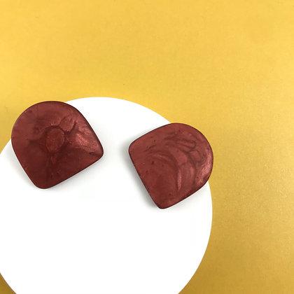 Minimalist Burgundy Handmade Resin Stud Earrings