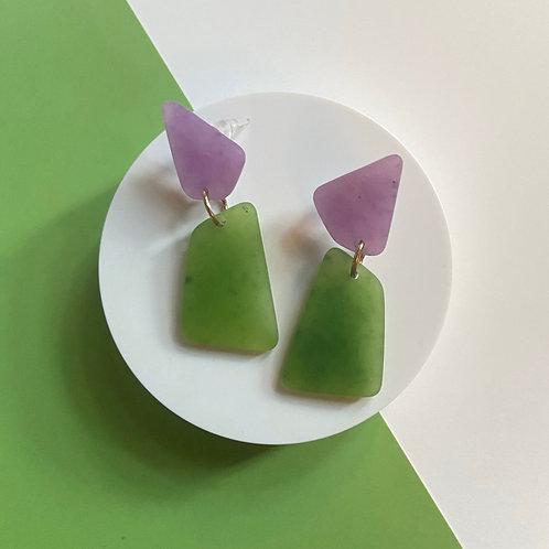 Green and Purple Hypoallergenic Handmade Resin Earrings