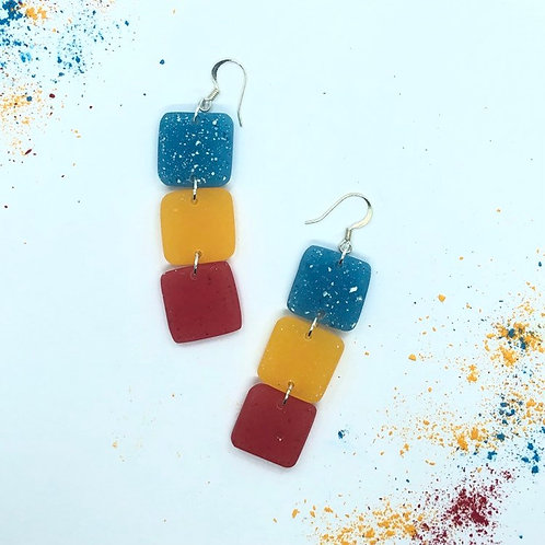 Long Red Yellow and Blue Handmade Dangle Drop Earrings