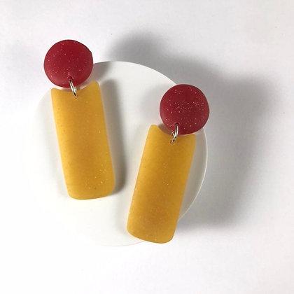 Trendy Handmade Red and Yellow Studs