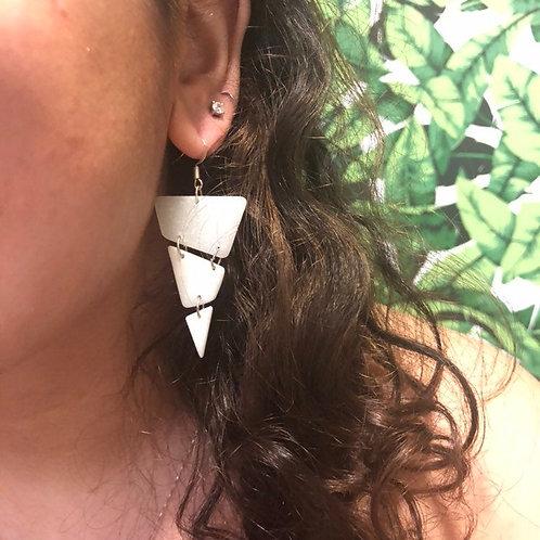 Handmade White Statement Earrings