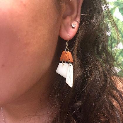 Handmade White Golden Drop Earrings