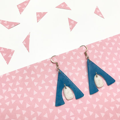 Blue Statement Earrings with White Dot