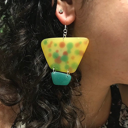 Yellow, Green and Red Statement Earrings