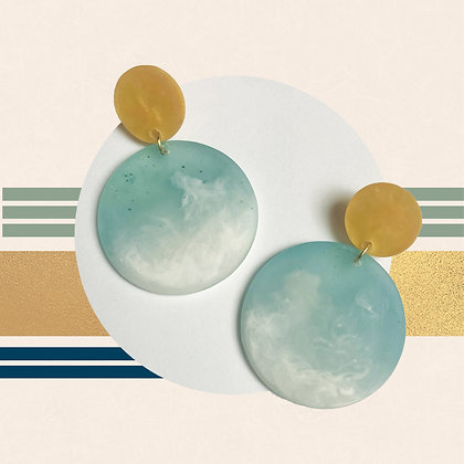 Golden and Ombre Blue and White Translucent Resin Studs