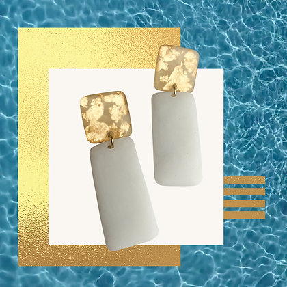 Golden Flakes in Golden and White Minimalist Resin Studs
