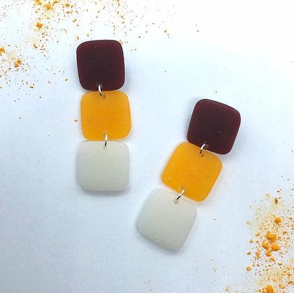 Maroon Yellow and White Fall Earrings
