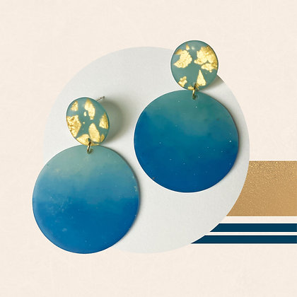 Circular Gold Flakes in Translucent Teal Green Resin Statement Studs