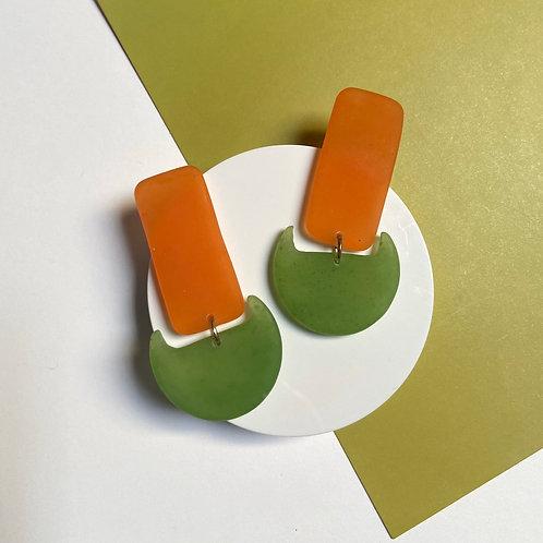 Orange and Green Handmade Resin Earrings