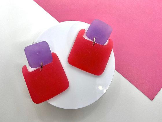Pink and Purple Hypoallergenic Handmade Dangle Earrings