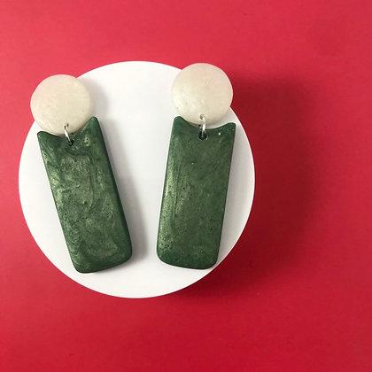 Minimalist Green & White Handmade Long Earrings