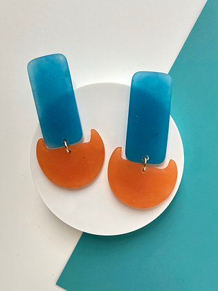 Blue and Orange Handmade Hypoallergenic Resin Earrings