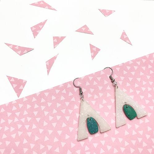 Handmade White and Green Statement Earrings