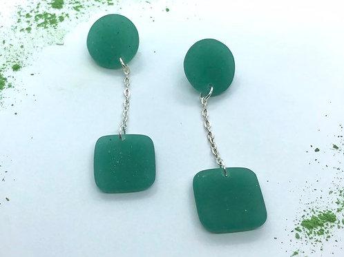 Green Handmade Resin Dangle Drop Earrings, Square Circle Earrings