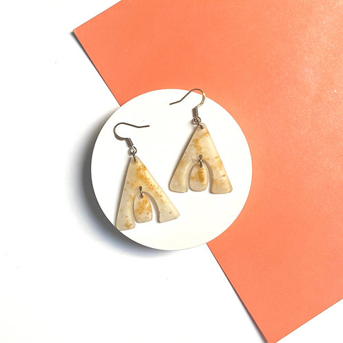 White and Yellow Marbled Handmade Resin Earrings