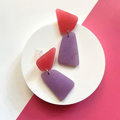Pink and Purple Hypoallergenic Handmade Resin Earrings