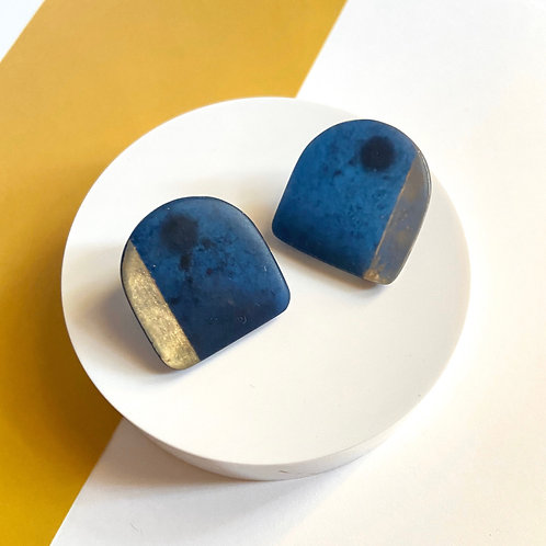 Handmade Resin Blue Stud Earrings with Gold Accents