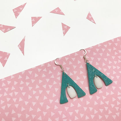 Handmade Turquoise Statement Earrings with White Dot