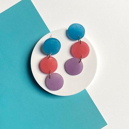 Multicolor Handmade Blue, Pink and Purple Long Dangle Earrings
