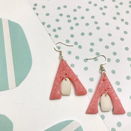 Handmade Pink Statement Earrings with White Dot