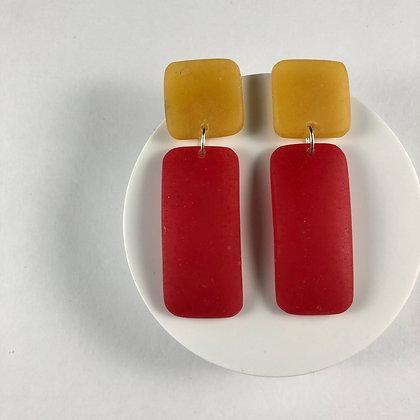Trendy Handmade Yellow & Red Earrings, Edgy Handmade Resin Earrings
