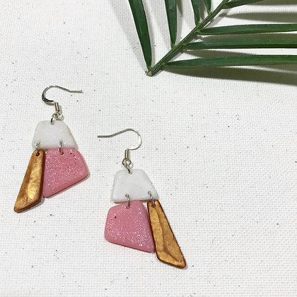Cute White Pink Golden Resin Drop Earrings