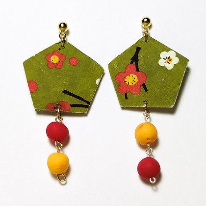 Sikai-Kimono verd caqui, vermell i blanc