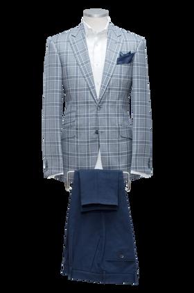 blue check jacket with denim 5 pockets