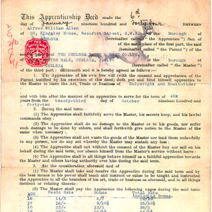 An original 1940's Apprenticeship contract