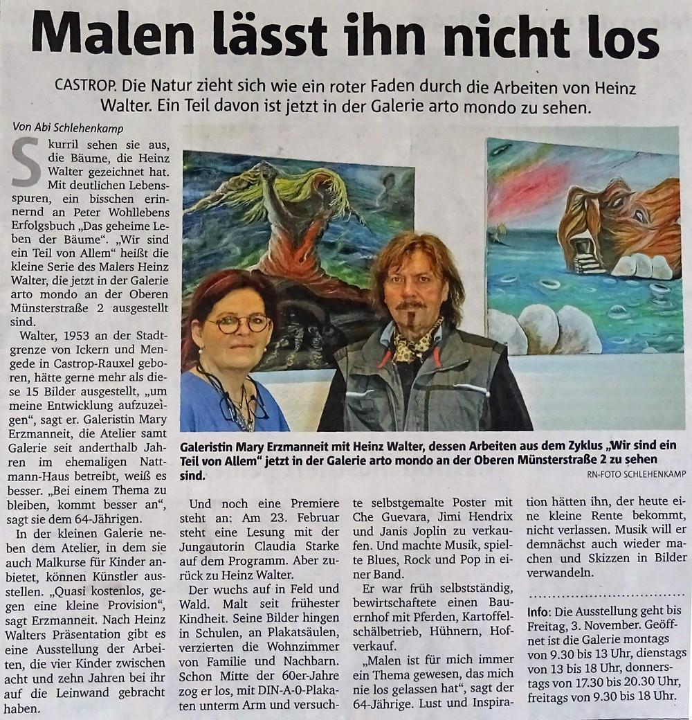 """… die Ausstellung des Künstlers HEINZ WALTER im arto mondo in Castrop-Rauxel war ein voller Erfolg. Viele Kunstinteressierte besuchten die Ausstellung und informierten sich auch über das Mal- und Ausstellungskonzept der Galerie """"arto mondo""""."""
