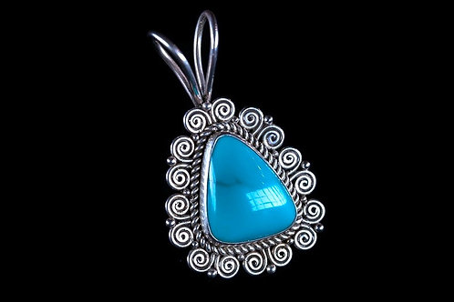 Sterling Silver Turquoise Pendant.
