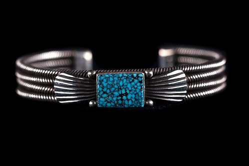Twisted Wire Silver Turquoise Bracelet.