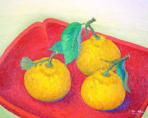 朱盆と三宝柑